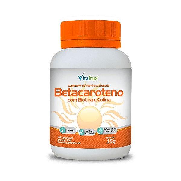 Betacaroteno com Biotina e Colina em cápsulas - Vitafrux - 30 caps