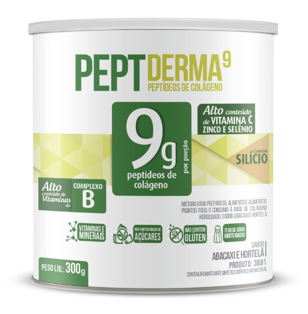 Colágeno PeptDerma9 sabor Abacaxi e Hortelã - Solúvel - CháMais - 300g
