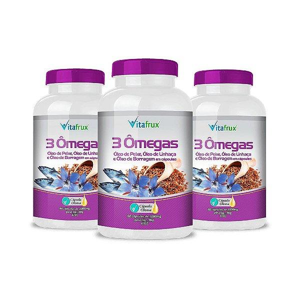 Combo 3 potes - 3 Ômegas - Óleo de Linhaça, Óleo de Peixe e Óleo de Borragem em cápsulas - Vitafrux - 60 caps