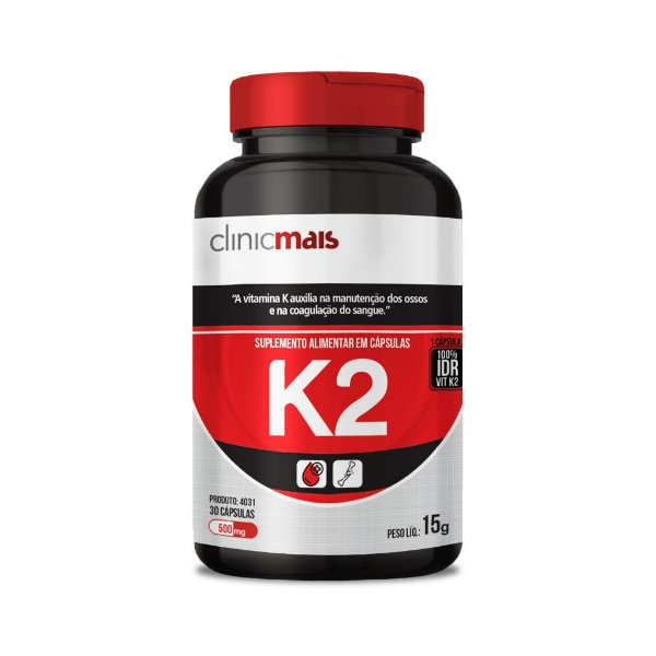 Vitaminas K2 - Suplemento alimentar em cápsulas - 30 caps - 15g - ClinicMais