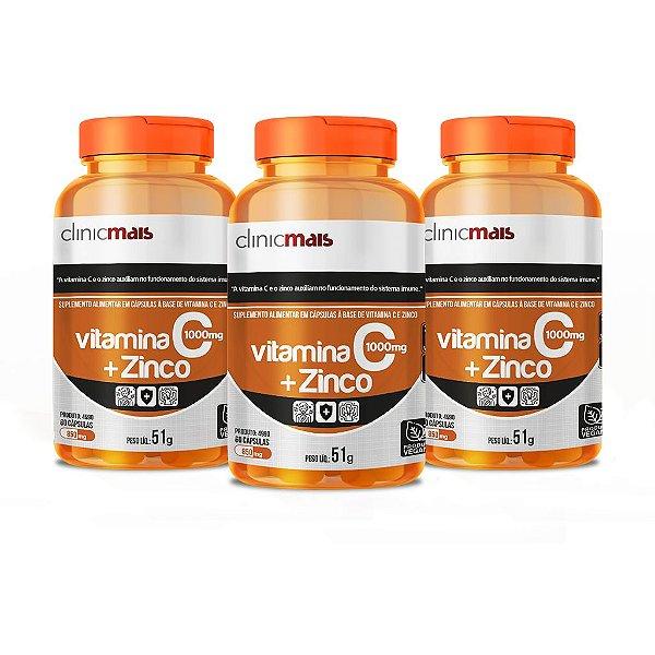 Combo - 3 unidades de Vitamina C + Zinco em cápsulas - Clinic Mais