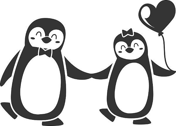 Adesivo de Geladeira Casal Pinguins