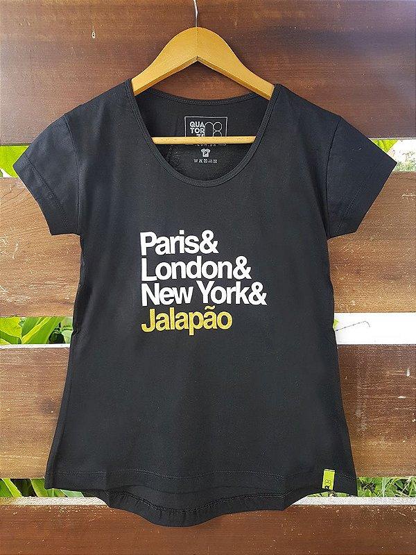 Camiseta Feminina Paris e Jalapão Preta