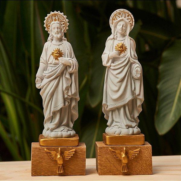 Coração de Jesus e Coração de Maria - Degradê Cinza e Dourado
