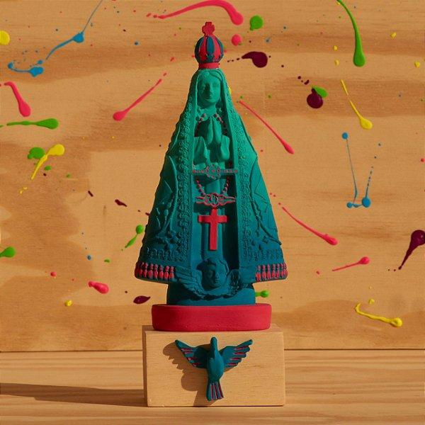 Nossa Senhora Aparecida - Degradê Azul Turquesa e Pink