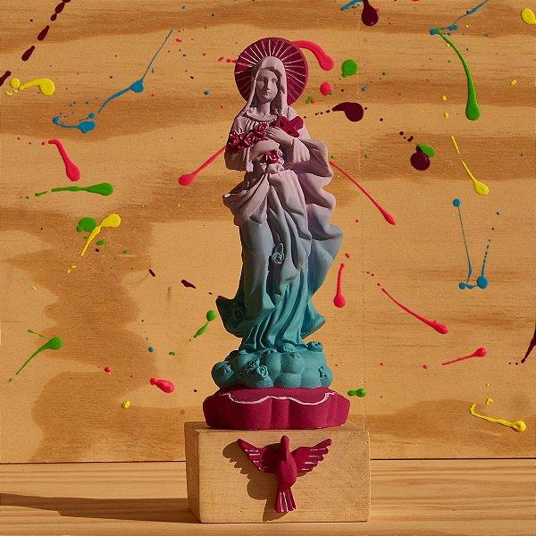 Santa Teresinha das Rosas - Degradê Lilás e Azul com Roxo