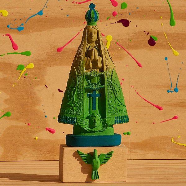 Nossa Senhora Aparecida - Degradê Verde com Azul