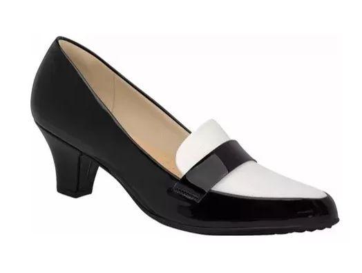 2aebc223b Scarpin Piccadilly Salto Médio Preto Branco - Alencar Calçados e Bolsas