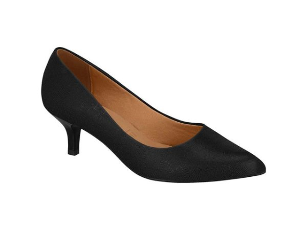 Sapato Scarpin Salto Baixo Vizzano Linho Brilho Preto & Vermelho 34100