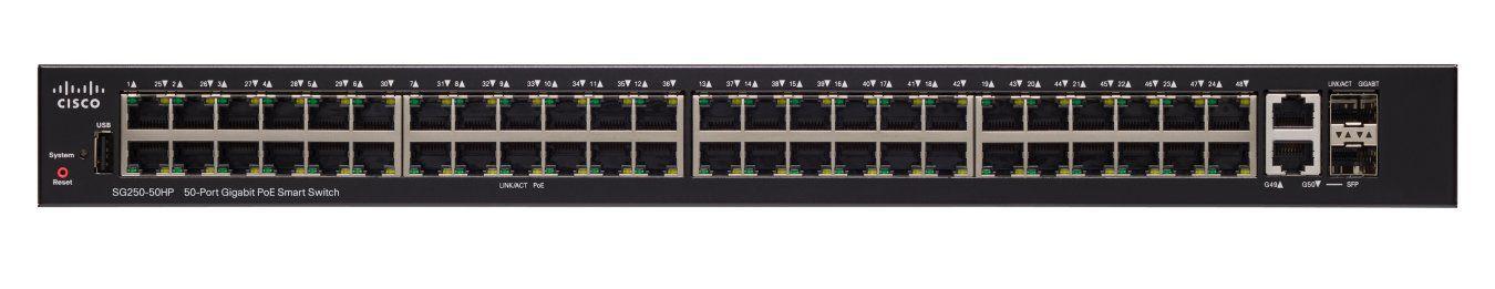 Switch Cisco 48 Portas Gigabit + 2 Portas SFP SG250-50-K9-BR
