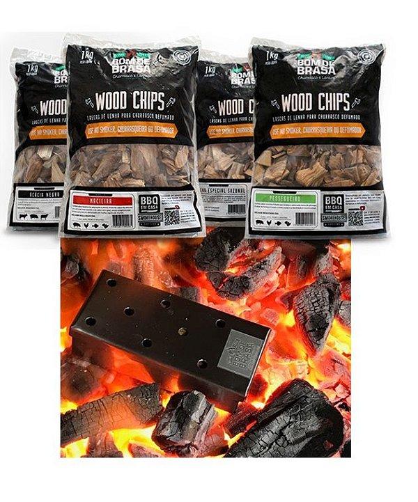 Kit Especial com 4 Lascas e 1 Smoke Box