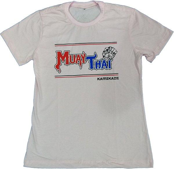 Camiseta Baby Look muay thai Branca