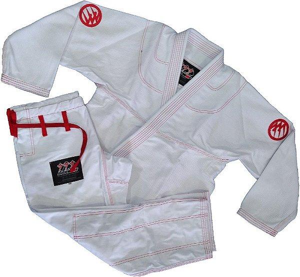 Kimono 777 Branco Vermelho Bordado