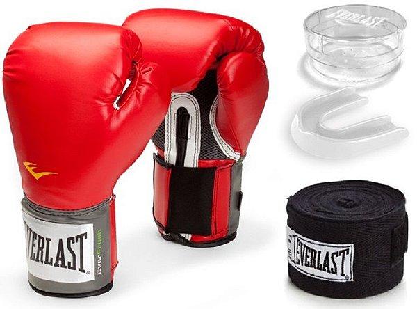 ef1c76890 Kit Luva Everlast Training Vermelha Bandagem  Bucal - Head Coach ...