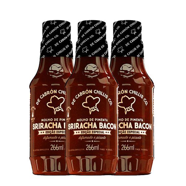 Kit 3un Molho De Pimenta Sriracha Bacon - De Cabrón