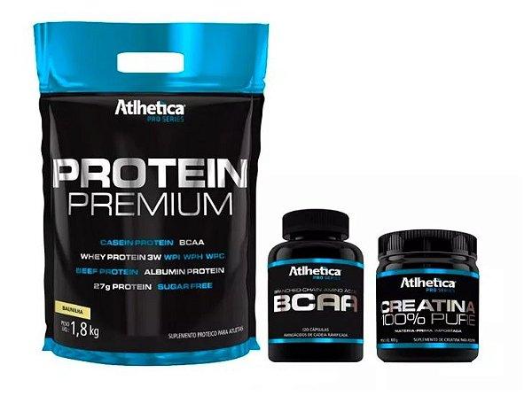 Protein Premium 1,8kg + Bcaa 120 Cápsulas + Creatina 100g
