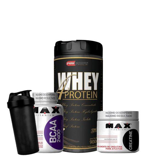 Whey 4 Protein 900g + Bcaa 100caps + Creatine 150g + Coqueteleita