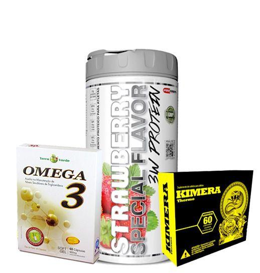 3W Special Flavor 900g + Kimera 60comprimidos + Ômega 3 60caps
