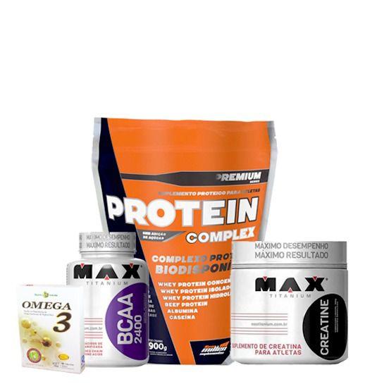 611dc5e85 Protein Complex 900g + Bcaa 100caps + Creatina 100g + Omega 3 60caps ...