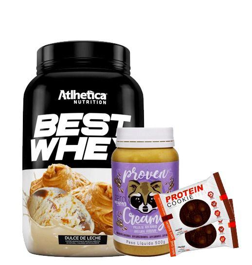 Best Whey Atlhetica + Pasta de Amendoim Proven + Protein Cookie