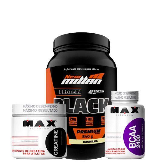 Protein Black 840g + Bcaa 100caps + Creatina 150g