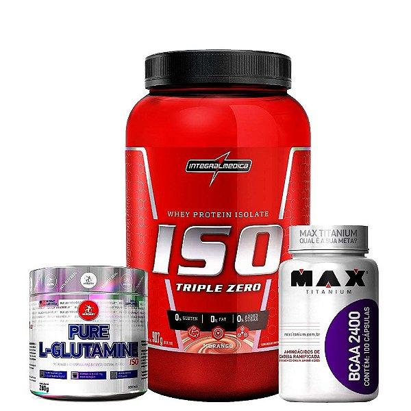 Combo Iso Triple 907g + L-Glutamine 280g + Bcaa 100caps