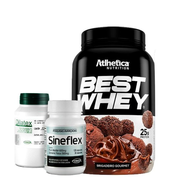 Best Whey 900g + Dilatex + Sineflex Power Supplements