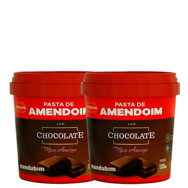 Kit 2un Pasta de Amendoim 1,02Kg Chocolate Meio Amargo Mandubim