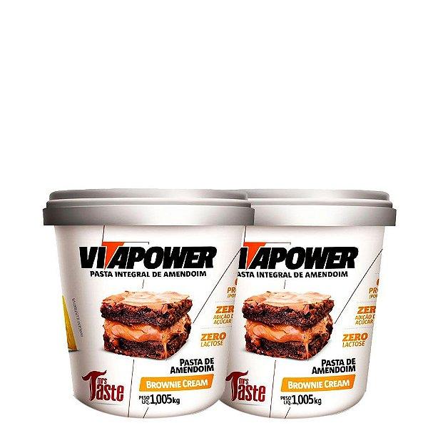 Kit 2 Un Pasta de Amendoim Brownie Cream 1,005kg VitaPower