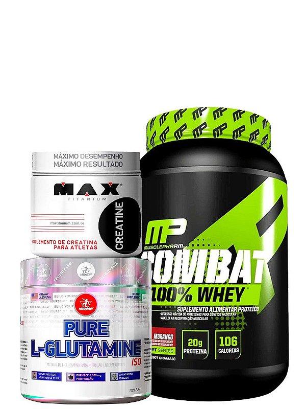 Combo Combat 100% Whey + L-Glutamine 100g + Creatine 100g Max Titanium