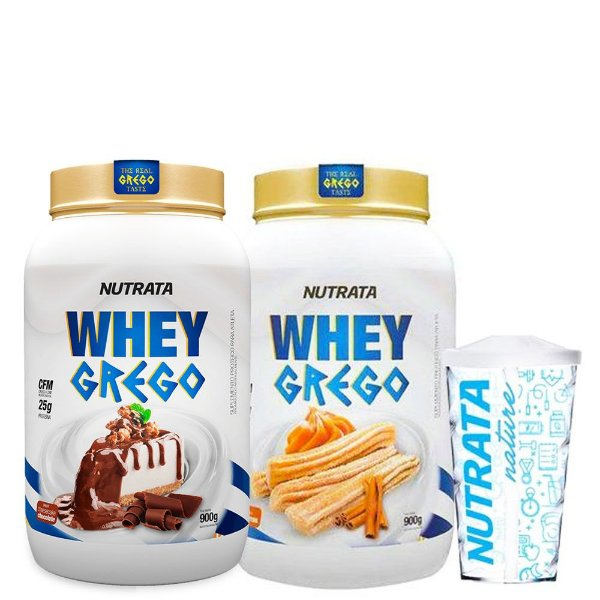 Kit 2 Unid Whey Grego 900g + Copo Nutrata Nature