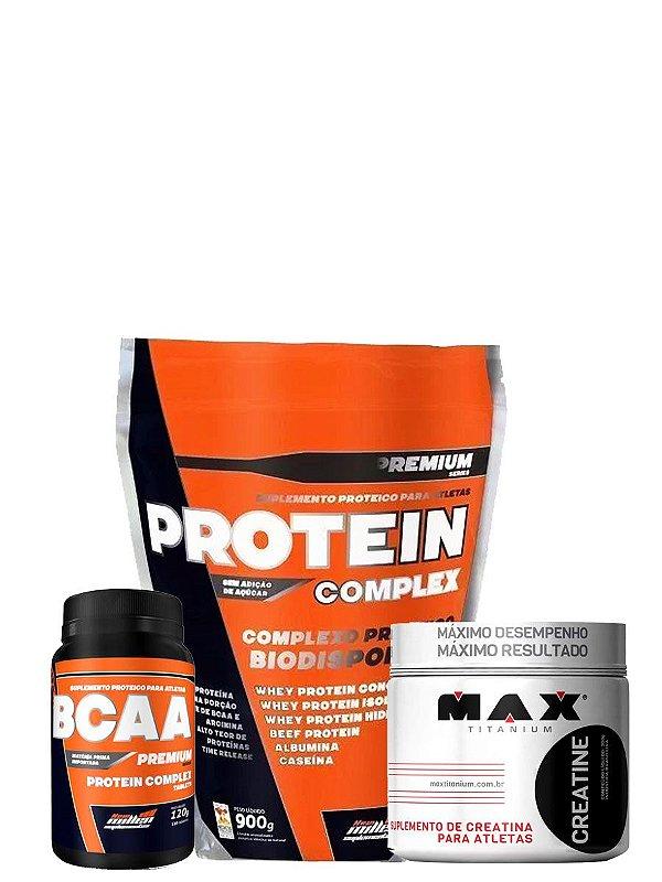 Kit Protein Complex 900g + Bcaa 120 Tab New Millen + Creatina 100g Max Titanium