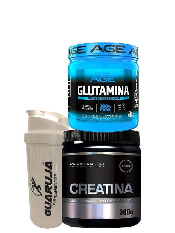 Kit Creatina 300g + Glutamina 300g + Coqueteleira de Brinde