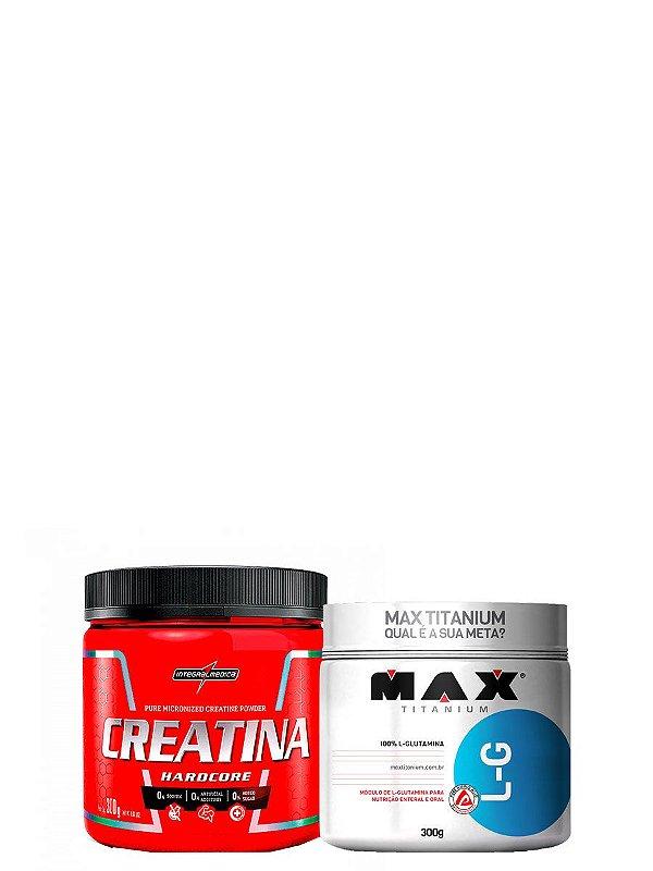 L-G Glutamina 300g Max Titanium + Creatina 300g Integralmedica