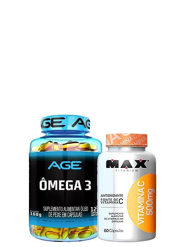 Omega 3 (120 Caps) Age + Vitamina C 500MG Max Titanium