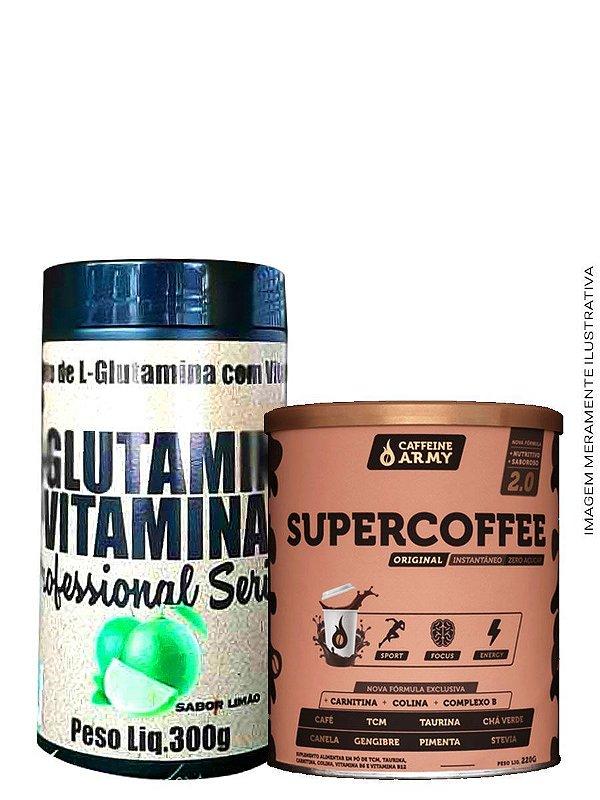 Combo Supercoffee 220g + Glutamina Vitamina C Sabor:Limão 300g Plex Natue