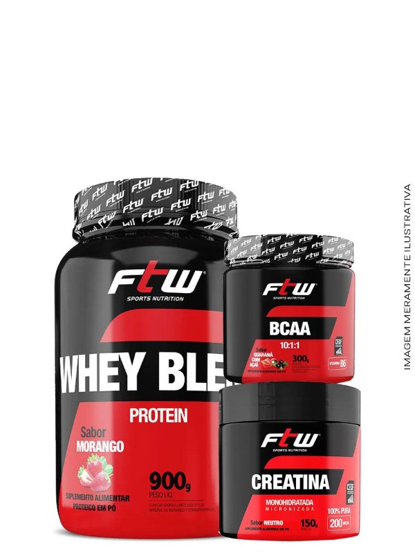 Combo FTW - Whey Blend 900g + Bcaa 60caps + Creatina 60g