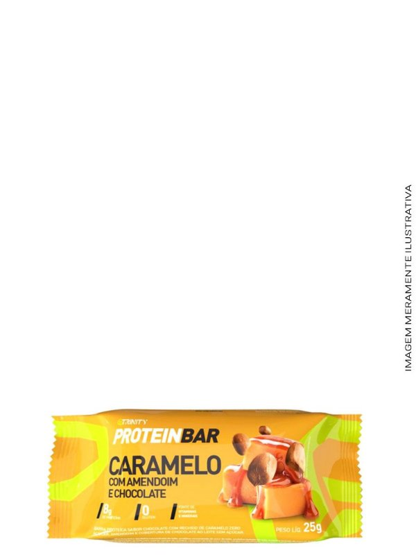 Mini Barrinhas de Proteínas 100g - Protein Bar Chocolate,Caramelo e Amendoim - Trinity
