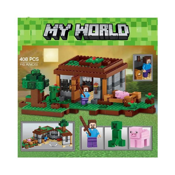 708331a558 Blocos de Montar tipo Minecrafte Casa no Campo My World 408 peças ...