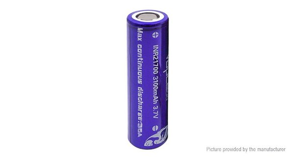 VAPCELL 21700 PURPLE/WHITE 35A FLAT TOP 3100MAH BATTERY