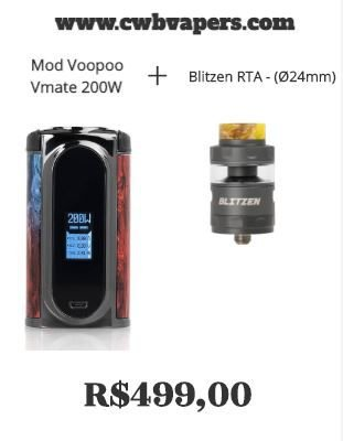 Combo Mod Voopoo Vmate 200W + Blitzen RTA - (Ø24mm)