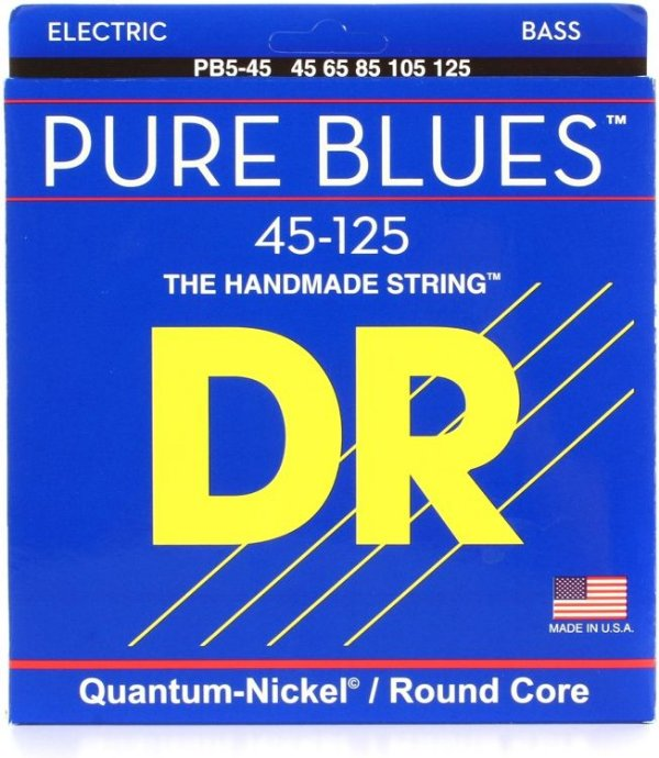 Encordoamento Dr Strings Contrabaixo 5 Cordas (.045-.125) -PB5-45-The Handmade strings-Pure Blues