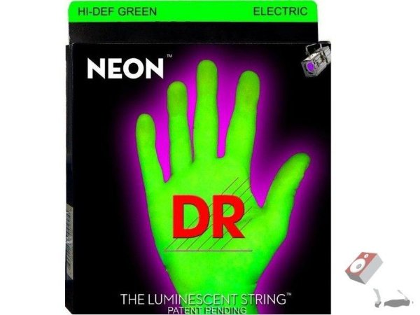Encordoamento Dr Strings guitarra 7 Cordas (.09-.052) -NGE-7-9-Hi Def cor verde-The Luminescent String