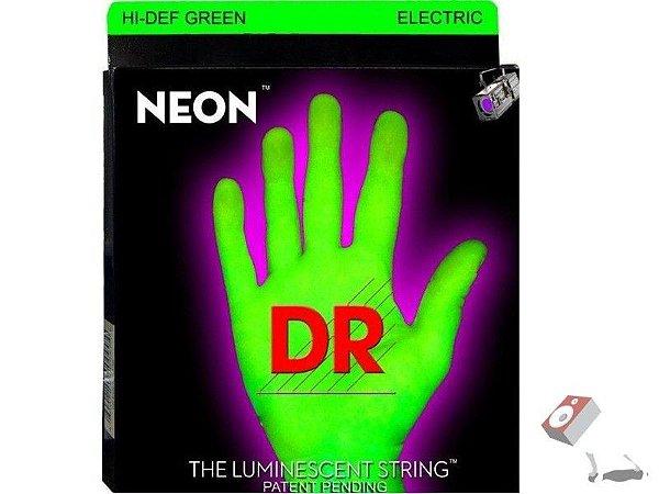 Encordoamento Dr Strings guitarra 7 Cordas (.09-.052) -NGE-7-9-Hi Def cor verde-The Luminescent String