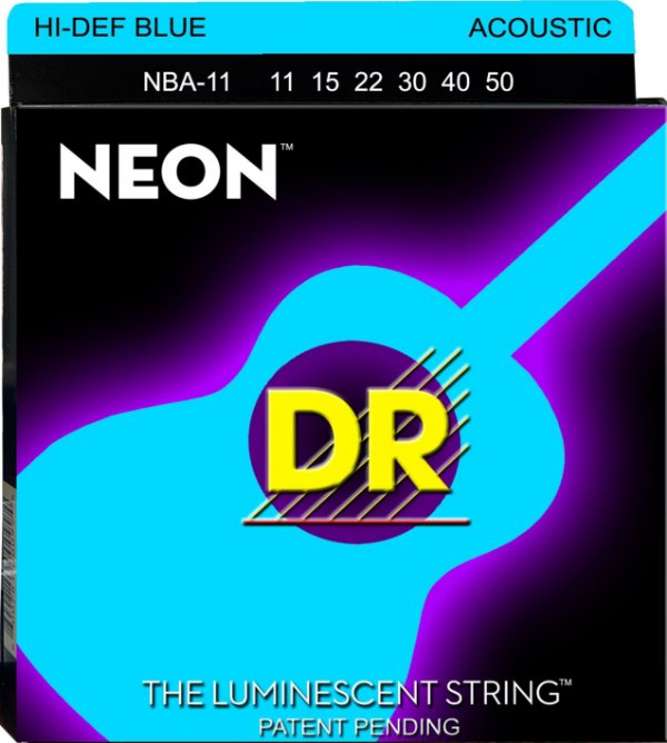 Encordoamento Violão Dr Strings 6 Cordas (.011-.050) -NBA-11-Hi Def cor azul-The Luminescent String