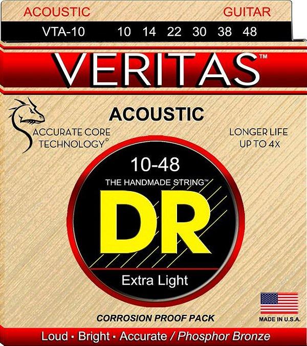 Encordoamento Violão Dr Strings 6 Cordas (.010-.048) - VTA-10-Veritas- Loud Bright.Accurate