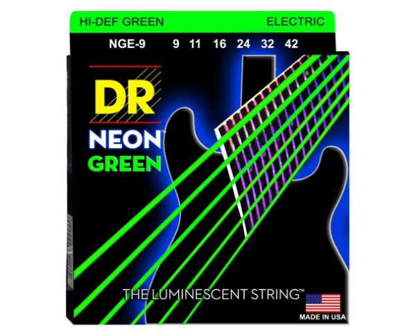 Encordoamento Dr Strings guitarra 6 Cordas (.09-.042) - NGE-9-Hi Def cor verde-The Luminescent String