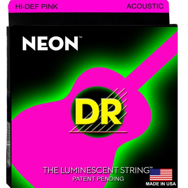 Encordoamento Violão Dr Strings 6 cordas (.012-.054) -NPA-12-Hi Def  cor Rosa-The Luminescent string