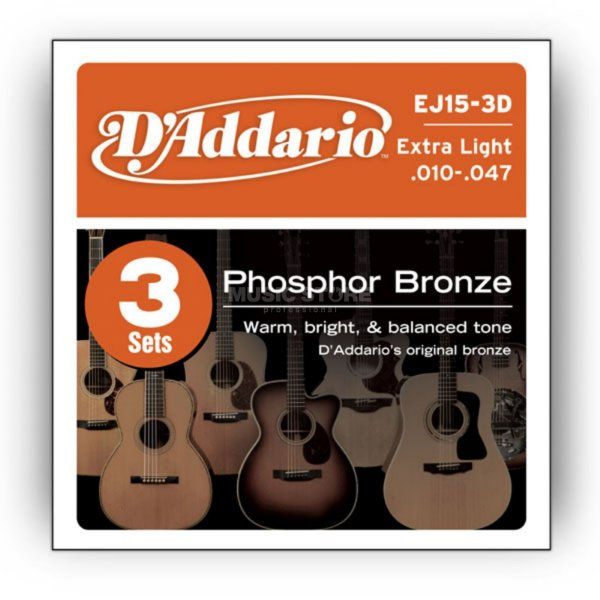 Encordoamento Violão Daddario 010-047 Extra Light Gauge EJ15-3D PHOSPHOR BRONZE Pack com 3