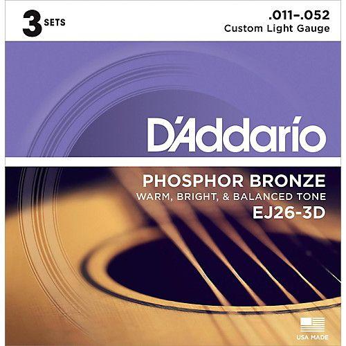 Encordoamento Violão Daddario 6 Cordas Phosphor Bronze EJ26-3D - Pack com 3